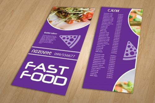 Dizajn cjenika i jelovnika za Fast food Pula