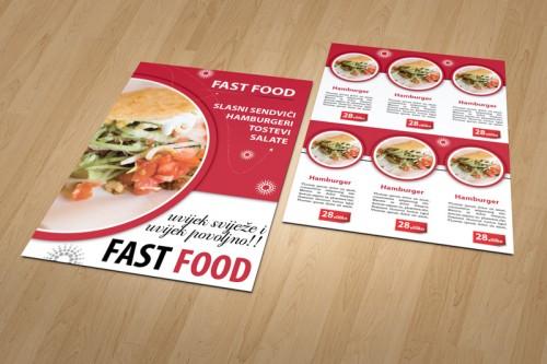 Dizajn cjenika i jelovnika za Fast Food Rijeka