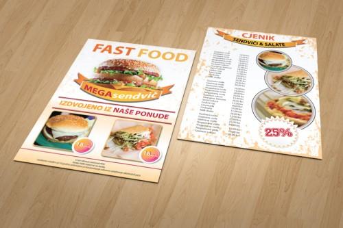 Dizajn cjenika i jelovnika za Fast Food Zadar