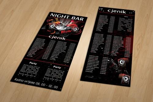 Dizajn cjenika za Night barove Pula