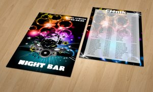Dizajn cjenika za Night barove Zadar