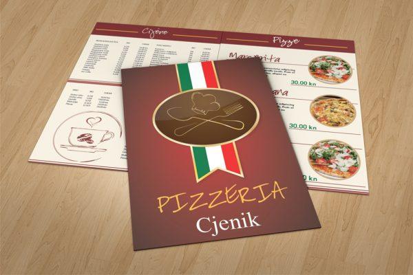Dizajn jelovnika za pizzerie Rijeka