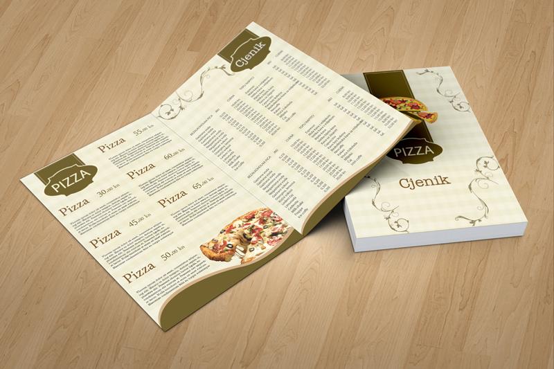 Dizajn jelovnika za pizzerie Split