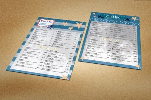 Dizajn cjenika za Beach bar Dubrovnik