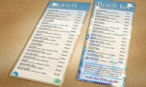 Dizajn cjenika za Beach bar Pula
