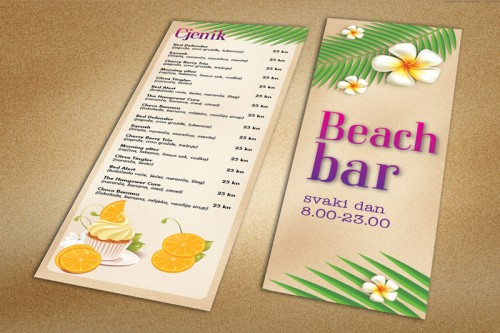Dizajn cjenika za Beach bar Split