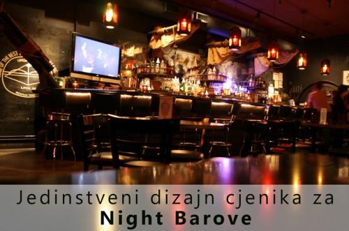 Jedinstveni dizajn cjenika za Night barove