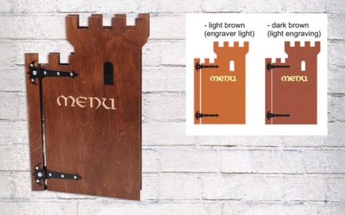 Drveni jelovnik u obliku kaštela